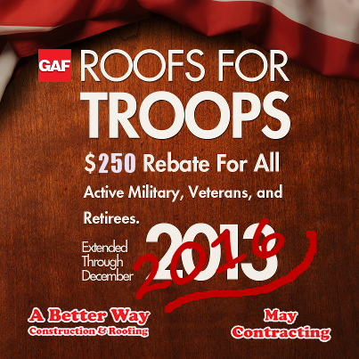 We support the GAF Roofs for Troops Program